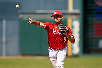 Shortstop Alex Ulloa (8) throws to first base during the Baseball Factory All-Star Classic at Dr. Pepper Ballpark on October 4, 2020 in Frisco, Texas.  Alex Ulloa (8), a resident of Culter Bay, Florida, attends Calvary Christian Academy.  (Ken Murphy/Four Seam Images)