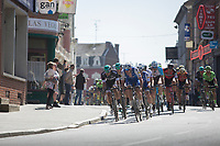 Tim Declercq (BEL/Quick-Step Floors) pacing the peloton through one of those typical Northren French towns<br /> <br /> 115th Paris-Roubaix 2017 (1.UWT)<br /> One day race: Compiègne > Roubaix (257km)