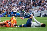 19th September 2021; Tottenham Hotspur Stadium, Tottenham, London; Son Heung-min clatters into Kepa Arrizabalaga during the Premier League match between Tottenham Hotspur and Chelsea at Tottenham Hotspur Stadium