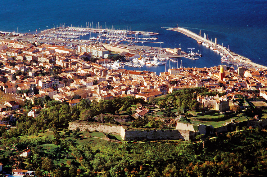 France. Provence, Var.  St. Tropez.  Aerial view of the town