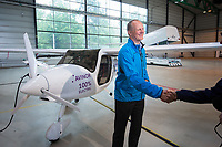 June 18th 2018 saw the first official flight by an electric aircraft in Norway. <br /> <br />   Minister of Transport and Communications Ketil Solvik-Olsen being congratulated. <br /> <br /> The plane is battery operated and signals a focus on more envorinmentally friendly solutions for the fututre. The project is supported by the government, and the project partners are Widerøe, SAS, the Norwegian Association of Air Sports, and climate foundation ZERO.<br /> <br />  © Fredrik Naumann/Felix Features