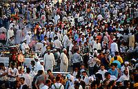 Crowded bazaar in Djemaa El Fna, Marrakesh, Morocco.