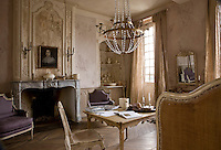 Part guest bedroom, part sitting room, the generous proportions of this room accommodate a pair of Louis XVI bergere armchairs, a Gustavian coffee table and a Louis XV daybed