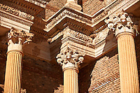 Corinthian columns of the Bath Gymnasium complex of Sardis, a typical example of the colonnaded palaestra front of a Hellenistic 1st cent. AD Greco Roman baths of the western & southern region of Anatolia. Sardis archaeological site, Hermus valley, Turkey. A Harvard Art Museum excavation project.