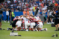 LYON, FRANCE - JULY 07: USWNT huddle during a game between Netherlands and USWNT at Stade de Lyon on July 07, 2019 in Lyon, France.