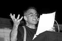 Larry Kramer speaking at a Boston Gay Town Meeting 6.9.87 at historic Faneuil Hall in Boston MA sponsored by the Boston Lesbian and Gay Political Alliance.