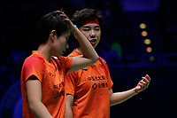 15th March 2020, Arena Birmingham, Birmingham, UK;  Chinas Du Yue and Li Yinhui R communicate with each other during the womens doubles final match against Japans Fukushima Yuki and Hirota Sayaka at All England Open 2020 badminton tournament in Birmingham