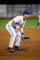 Bluefield Blue Jays third baseman Davis Schneider (8) during a game against the Bristol Pirates on July 26, 2018 at Bowen Field in Bluefield, Virginia.  Bristol defeated Bluefield 7-6.  (Mike Janes/Four Seam Images)