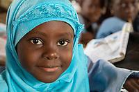 Senegal, Touba.  Young Girl at Al-Azhar Madrasa, a School for Islamic Studies.