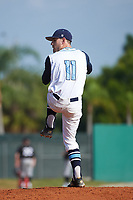 Lasell Lasers pitcher John Almeida (11) delivers a pitch during the first game of a doubleheader against the Edgewood Eagles on March 14, 2016 at Terry Park in Fort Myers, Florida.  Edgewood defeated Lasell 9-7.  (Mike Janes/Four Seam Images)