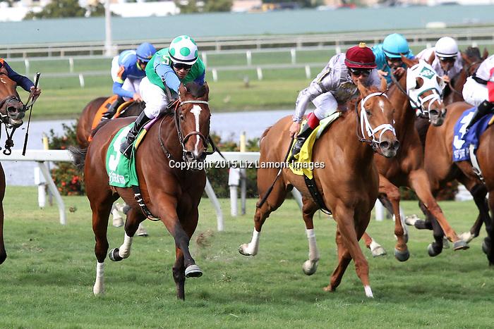March 28, 2015:  #5 Lady Lara (IRE) with jockey Junior Alvarado on board, wins the Honey Fox G2 on Florida Derby Day at Gulfstream Park  in Hallandale Beach, Florida.    Liz Lamont/ESW/CSM