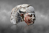 Ancient Egyptian statue head of a monarch, limestone, Middle Kingdom, mis 12th Dynasty, (1900-1850 BC), Qqw el-Kebir, tomb of Ibu. Egyptian Museum, Turin. Grey Background<br /> <br /> Since this statue head comes from the tomb of Ibu it is likely that they depict a powerful gosvenor, although the incsription is lost. It can be dated by its style which is close to the statues of Amenemhat II and Sesostris II. Schiaparelli excavations. Cat 4410 & 4414