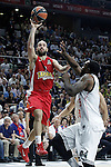 Real Madrid's K.C.Rivers (r) and Olympiacos Piraeus' Vassilis Spanoulis during Euroleague Final Match. May 15,2015. (ALTERPHOTOS/Acero)