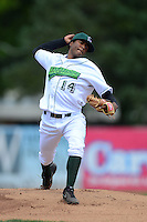 Jamestown Jammers pitcher Isaac Sanchez (14) during a game against the Brooklyn Cyclones on August 4, 2013 at Russell Diethrick Park in Jamestown, New York.  Jamestown defeated Brooklyn 9-5.  (Mike Janes/Four Seam Images)