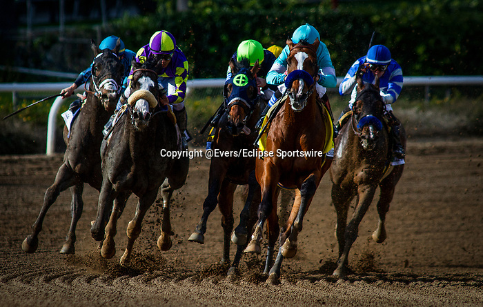 MAR 07: Authentic with Drayden Van Dyke comes off the turn ahead of Honor AP and Storm the Court wins the San Felipe Stakes at Santa Anita Park in Arcadia, California on March 7, 2020. Evers/Eclipse Sportswire/CSM