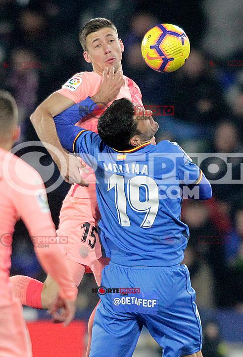 Getafe CF's Jorge Molina (r) and FC Barcelona's Clement Lenglet during La Liga match. January 6,2019. (ALTERPHOTOS/Acero) /NortePhoto.com