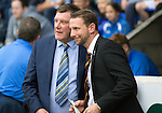 St Johnstone v Motherwell...22.08.15  SPFL   McDiarmid Park, Perth<br /> Ian Barraclough and Tommy Wright prior to kick off<br /> Picture by Graeme Hart.<br /> Copyright Perthshire Picture Agency<br /> Tel: 01738 623350  Mobile: 07990 594431