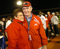 Arkansas Democrat-Gazette/AARON SKINNER<br /><br />Arkansas head track and field coach John McDonnell (right) is congratulated by his wife Ellen after the Razorbacks won the SEC Outdoor Track and Field Championship, the first meet held at the new John McDonnell Field, in Fayetteville Sunday.<br /><br />5-14-06