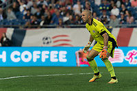 FOXBOROUGH, MA - JULY 25: Brad Knighton #18 of New England Revolution during a game between CF Montreal and New England Revolution at Gillette Stadium on July 25, 2021 in Foxborough, Massachusetts.