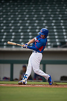 AZL Cubs 2 center fielder Cole Roederer (34) swings at a pitch during an Arizona League game against the AZL Rangers at Sloan Park on July 7, 2018 in Mesa, Arizona. AZL Rangers defeated AZL Cubs 2 11-2. (Zachary Lucy/Four Seam Images)