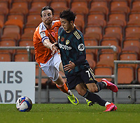 Blackpool's James Husband 'battles with Leeds United's Ian Poveda<br /> <br /> Photographer Dave Howarth/CameraSport<br /> <br /> EFL Trophy - Northern Section - Group G - Blackpool v Leeds United U21 - Wednesday 11th November 2020 - Bloomfield Road - Blackpool<br />  <br /> World Copyright © 2020 CameraSport. All rights reserved. 43 Linden Ave. Countesthorpe. Leicester. England. LE8 5PG - Tel: +44 (0) 116 277 4147 - admin@camerasport.com - www.camerasport.com