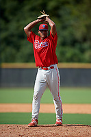 Philadelphia Phillies pitcher Cristian Hernandez (70) delivers a pitch during a Florida Instructional League game against the New York Yankees on October 11, 2018 at Yankee Complex in Tampa, Florida.  (Mike Janes/Four Seam Images)