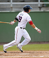 Infielder Steven Souza (18) of the Potomac Nationals, Carolina League affiliate of the Washington Nationals, in a game against the Salem Red Sox on June 16, 2011, at Pfitzner Stadium in Woodbridge, Va. Photo by Tom Priddy / Four Seam Images