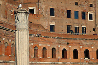 Rome, Fora: A broad view of the ancient markets on the back of the large oriental exedra of the Forum of the emperor Trajan (end of the I century AD), with a Corinthian capital on the top of a column in the Forum in foreground, on the left. There is a seagull on the capital.