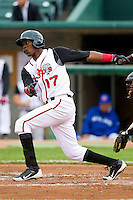 Gustavo Pierre (17) of the Lansing Lugnuts follows through on his swing against the Fort Wayne TinCaps at Cooley Law School Stadium on June 5, 2013 in Lansing, Michigan.  The TinCaps defeated the Lugnuts 8-5.  (Brian Westerholt/Four Seam Images)