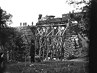 Orange and Alexandria Railroad.  Cars and military bridge.  Mathew Brady Collection.  (Army)<br /> Exact Date Shot Unknown<br /> NARA FILE #:  111-B-185<br /> WAR & CONFLICT BOOK #:  209