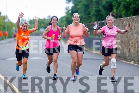 Carmel Foran, Aine Brosnan, Helen Twomey and Clare Cassidy gives the thumbs up as the cross  the finish line of their 10 miles in 10 days challenge in memory of Conor Cusack at the Rose Hotel on Saturday.