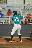 Tyler White (16) (Tusculum College) of the Mooresville Spinners at bat against the Dry Pond Blue Sox at Moor Park on July 2, 2020 in Mooresville, NC.  The Spinners defeated the Blue Sox 9-4. (Brian Westerholt/Four Seam Images)