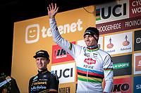 podium with race winner Mathieu Van der Poel (NED/Alpecin Fenix) <br /> <br /> Men Elite Race<br /> UCI Cyclocross Worldcup – Hoogerheide (Netherlands)<br /> <br /> ©kramon