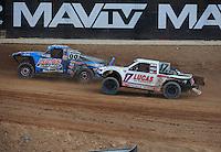 Mar. 20, 2011; Chandler, AZ, USA;  LOORRS pro two driver Robby Woods (99) leads Carl Renezeder (17) during round two at Firebird International Raceway. Mandatory Credit: Mark J. Rebilas-