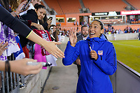 HOUSTON, TX - FEBRUARY 03: Christen Press #20 of the United States mingles with USA supporters during a game between Costa Rica and USWNT at BBVA Stadium on February 03, 2020 in Houston, Texas.