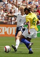 Lindsay Tarpley v Rosana.US Women's National Team vs Brazil at Legion Field in Birmingham, Alabama.