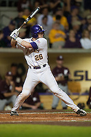 LSU Tigers catcher Ty Ross #26 at bat against the Mississippi State Bulldogs during the NCAA baseball game on March 16, 2012 at Alex Box Stadium in Baton Rouge, Louisiana. LSU defeated Mississippi State 3-2 in 10 innings. (Andrew Woolley / Four Seam Images)