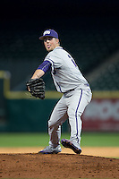Texas Christian Horned Frogs relief pitcher Brian Trieglaff (21) finishes out the game against the Houston Cougars in game eight of the Shriners Hospitals for Children College Classic at Minute Maid Park on February 28, 2016 in Houston, Texas.  The Horned Frogs defeated the Cougars 10-1.  (Brian Westerholt/Four Seam Images)