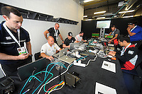 The video analysts room starts its operation on day one of the 2017 HSBC World Sevens Series Wellington at Westpac Stadium in Wellington, New Zealand on Saturday, 28 January 2017. Photo: Dave Lintott / lintottphoto.co.nz
