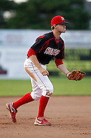 Batavia Muckdogs infielder Daniel Stienstra #2 during the second game of a doubleheader against the Mahoning Valley Scrappers at Dwyer Stadium on August 22, 2011 in Batavia, New York.  Mahoning Valley defeated Batavia 11-3.  (Mike Janes/Four Seam Images)