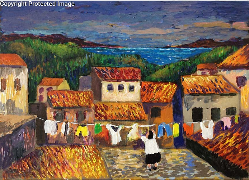 """Mougins; Laundry Day<br /> 9.5"""" x 13"""" Acrylic on Canvas Original Painting<br /> $5,500"""