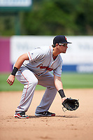 Pawtucket Red Sox third baseman Garin Cecchini (7) during a game against the Syracuse Chiefs on July 6, 2015 at NBT Bank Stadium in Syracuse, New York.  Syracuse defeated Pawtucket 3-2.  (Mike Janes/Four Seam Images)