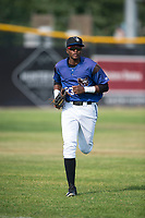 Missoula Osprey left fielder Jesus Munoz (23) jogs off the field between innings of a Pioneer League game against the Orem Owlz at Ogren Park Allegiance Field on August 19, 2018 in Missoula, Montana. The Missoula Osprey defeated the Orem Owlz by a score of 8-0. (Zachary Lucy/Four Seam Images)
