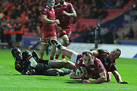 Ioan Nicholas of Scarlets scores his sides fourth try during the Guinness Pro14 Round 5 match between Scarlets and Isuzu Southern Kings at the Parc Y Scarlets in Llanelli, Wales, UK. Saturday 29 September 2018