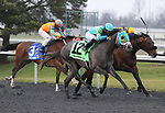 March 14, 2020 : #12 Field Pass and jockey Irad Ortiz Jr. win the 49th running of Jeff Ruby Steaks (Grade 3) $250,000 for owner Three Diamonds Farm and trainer Michael Maker at Turfway Park in Florence, KY on March 14, 2020.  Candice Chavez/ESW/CSM