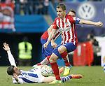 Atletico de Madrid's Gabi Fernandez (r) and Real Sociedad's Hector Hernandez during La Liga match. March 1,2016. (ALTERPHOTOS/Acero)