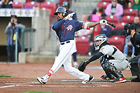 Cedar Rapids Kernels right fielder Jaylin Davis (24) swings during a game against the Wisconsin Timber Rattlers at Veterans Memorial Stadium on April 13, 2017 in Cedar Rapids, Iowa.  The Kernels won 2-1.  (Dennis Hubbard/Four Seam Images)