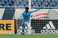 FOXBOROUGH, MA - MAY 12: Rashid Nuhu #24 of Union Omaha takes a goal kick during a game between Union Omaha and New England Revolution II at Gillette Stadium on May 12, 2021 in Foxborough, Massachusetts.