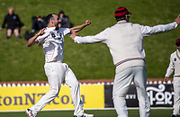 Daryl Mitchell successfully appeals for the wicket of Devon Conway during day three of the Plunket Shield match between the Wellington Firebirds and Canterbury at Basin Reserve in Wellington, New Zealand on Wednesday, 21 October 2020. Photo: Dave Lintott / lintottphoto.co.nz
