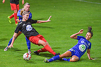 Woluwe's midfielder Marie Bougard (10) and Gent's forward Jolet Lommen (9) pictured during a female soccer game between  AA Gent Ladies and Femina White Star Woluwe on the third matchday of the 2020 - 2021 season of Belgian Scooore Womens Super League , friday 2 nd of October 2020  in Oostakker , Belgium . PHOTO SPORTPIX.BE | SPP | STIJN AUDOOREN